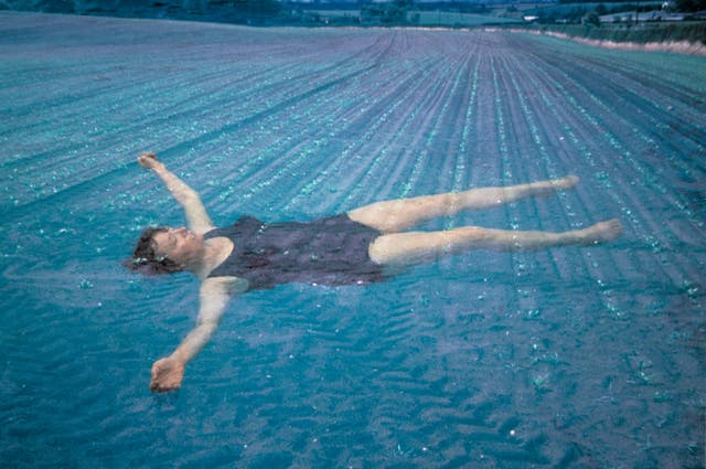 Photograph a woman in a swimming costume floating in water, superimposed on an image of an agricultural field.