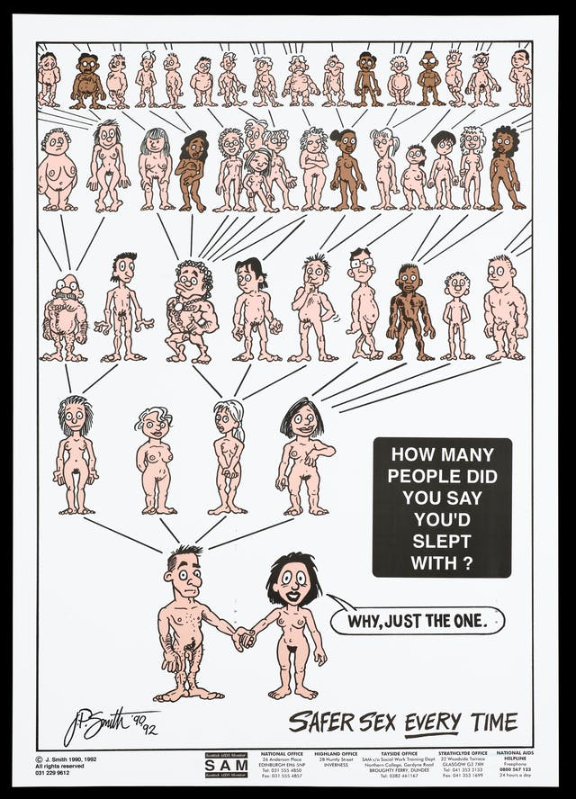"Numerous naked figures laid out in the form of a family tree. Lettering says: How many people did you say you slept with? The woman responds, ""Why, just the one."""