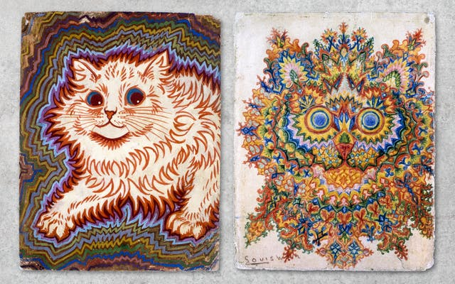 Photograph showing two works of art, side by side against a grey concrete textured background. Both artworks show colourful, abstract interpretations of cats by Louis Wain.