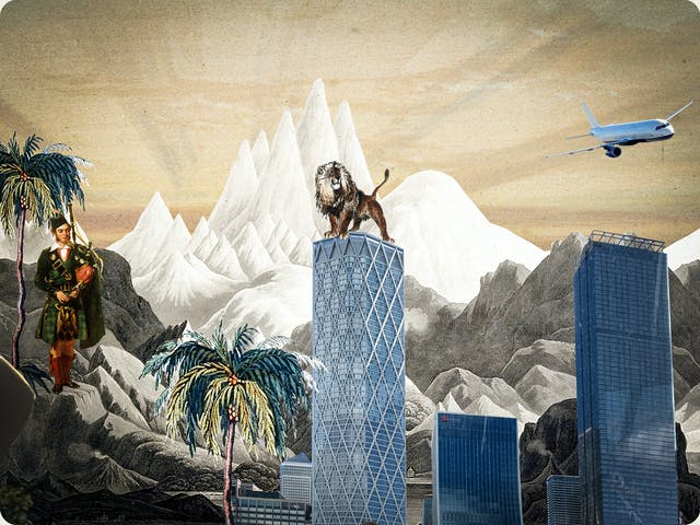 Artwork using collage.  The collaged elements are made up archive material which includes vintage photographs, etchings, painted illustrations, lithographic prints and line drawings. This artwork depicts a scene with an urban and rural combined background, where high snow covered mountain peaks rise in the distance. In the middle distance a Scottish piper stands on the hillside playing bagpipes, a lion stands on top of a cluster of large glass and metal skyscrapers. In the sky above is an aeroplane.