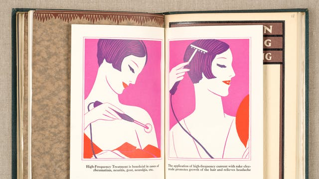 Photograph of an open page of a book showing an inserted booklet open at a double page with an illustration of a woman on each page. The illustration contains the colour palette of red, purple and violet. In each illustration the woman is using a wired handheld apparatus held against her scalp and upper arm.