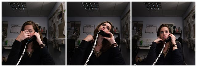 Photographic triptych showing the same woman in each image, sat in an office environment. In the left hand image the woman holds a landline telephone receiver to her left ear, her right hand scratches her nose and her eyes are closed. In the middle image she holds the receiver to her left ear and her head is tilted upwards, looking towards the ceiling. In the right hand image she holds the receiver to her left ear and is looking into the distance over the top of the camera.