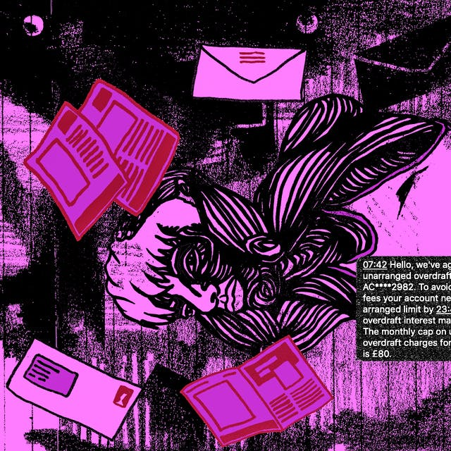 Illustration in black, purple and red tones, showing a person lying on the floor with their arms clasped around their head. Surrounding them are letters, envelopes, text messages and leaflets.