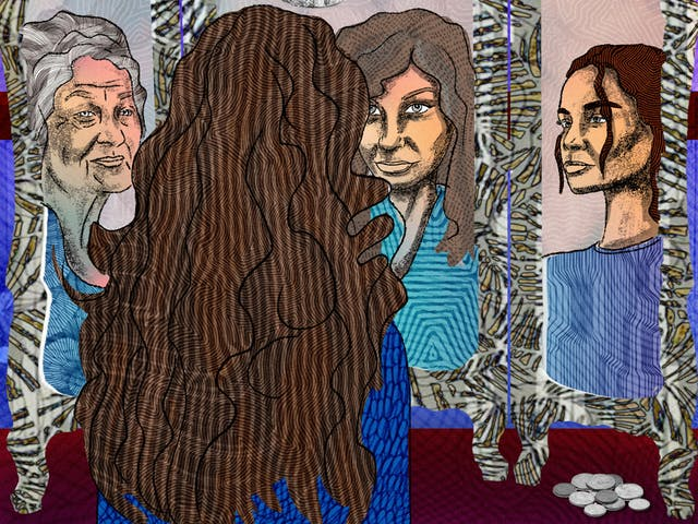 Detail from a larger abstract digital illustration depicting a woman with long hair looking into a dressing table mirror which has three angled sides. Looking back from the mirror is her own reflection as well as those of her mother and her daughter. Surrounding the mirror are images of medication, money and bills as well as a figure representing death. Overall colours for the scene are purples, blues and maroons.
