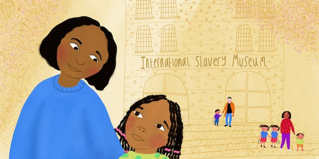 Digital colour illustration. The illustration shows a young girl with her mother looking at each other on the left side of the image. The mother is wearing a blue jumper and the girl a lime green with green spotted top. The girls hair is in braids, tied with pink ties at the end. The mother and daughter are of a Black ethnic background. Behind them on a yellow and orange background is a drawing of the front of a museum with the name
