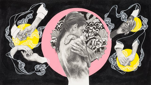 An artwork that combines life drawings of figures in pencil, detailed ink pen elements and painted colour sections against a black background. The central figure is a detailed pencil life drawing of a naked woman turned slightly away, her arms are wrapped around herself as if in an embrace. She is surrounded by detailed black ink drawings of foliage and encapsulated within a pale pink circle. In each corner of the artwork there are detailed pencil life drawings of pairs of hands, differing in ages and ethnicity. The hands are holding and touching each other and appear against separate yellow circles. Each group of hands is connected by detailed white lines against the black background.