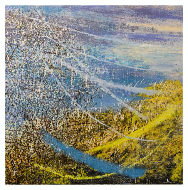 Oil on canvas artwork depicting an abstract, impressionist landscape made with heavily textured oil paint brushstrokes. The painting is made up of yellow, blue, brown and purple hues