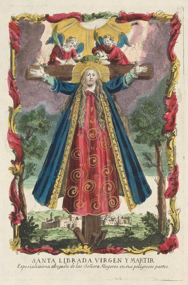 Coloured etching of woman on a cross