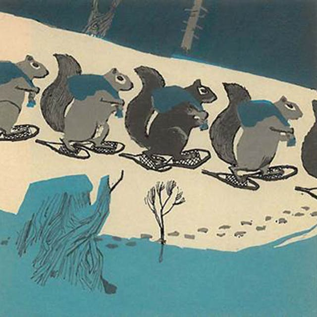 An illustration of squirrels walking in the snow.