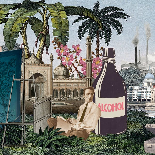 Artwork using collage. The collaged elements are made up of archive material which includes vintage photographs, etchings, painted illustrations, lithographic prints and line drawings. This artwork depicts a scene with an urban and rural combined background, where high chimneys billowing smoke and skyscrapers rise in the distance. In the middle distance an are tall palm trees and an expanse of water with a small boat. In the foreground on the left is a lion on his hind legs, mouth open in a roar. Behind and to the right of the lion is a large blue hardback book. On the cover is the figure of a naked man with his arms outstretched above his head. Branches grow out of his arms, torso and legs and roots grow out of his feet. Next to the book is an empty artist