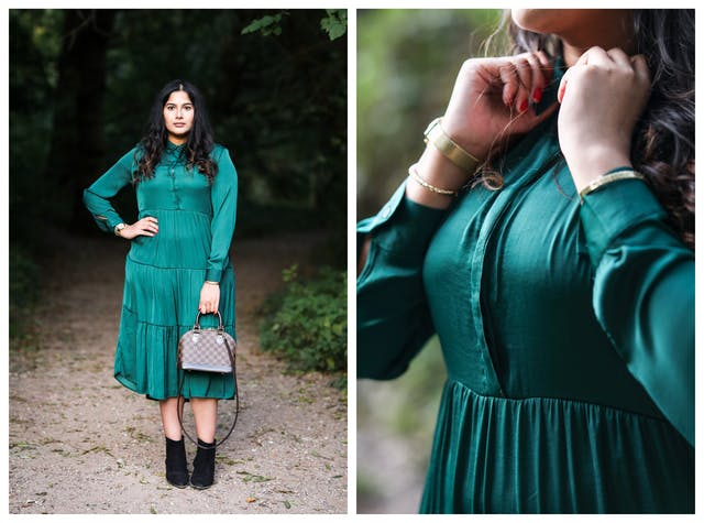 Photographic diptych. The image on the left shows a full length view of a woman who is wearing an emerald green dress with a shiny lustre. She is standing looking straight at the camera, with her right hand on her hip and in her left hand she is holding a small hand bag in front of her left leg. In the background can be seen a dark park or woodland scene with a footpath disappearing into the distance. On either side of the path is green vegetation and tree leaves. The image on the right shows a close-up of the same woman in the same dress, concentrating on her torso which is slightly angled to the camera. Her hands are both up at her collar where she seems to be making an adjustment to the dress.