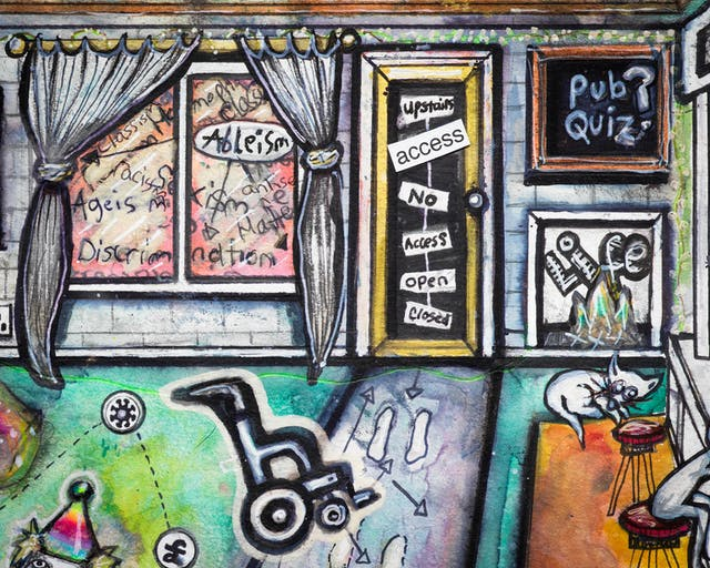 Artwork using watercolour and ink incorporating collaged words throughout the scene. The artwork shows a busy multi-coloured room. On the back wall, a window overlooking the outside world is filled with words including 'Ableism'.  Next to the window is a door with a few words including the phrase 'no access'.  Beside the door is a picture of the word 'life' burning in flames, and above it a chalkboard with the words 'Pub Quiz?' on it.