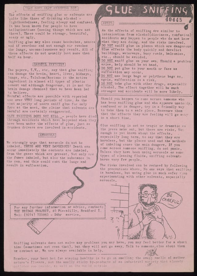 A fact sheet about glue sniffing, black text on pink paper with a hand-drawn illustration of a man saying
