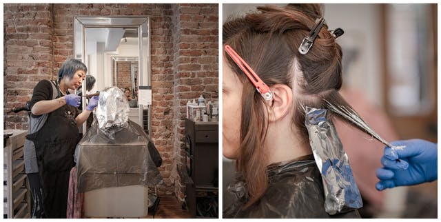 Photographic diptych. The photograph on the left shows a woman from behind sitting in a hairdressing salon chair her hair covered in foil bleaching strips. To her left the hairdresser is treating her hair. The photograph on the right shows a close view of the side of the same woman