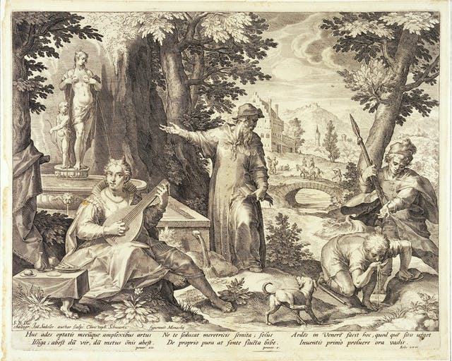 Hieronymus Fracastorius (Girolamo Fracastoro) shows the shepherd Syphilus and the hunter Ilceus a statue of Venus to warn them against the danger of infection with syphilis. Engraving by Jan Sadeler I, 1588/1595, after Christoph Schwartz