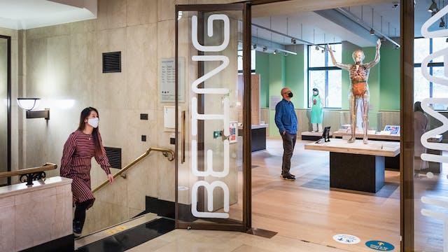 楼梯和入口的照片对博物馆画廊空间。在开放的门口写入