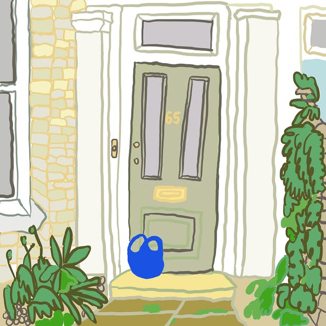 Webcomic showing a front door coloured green and numbered 65 in yellow, with a blue bag left on the porch outside. The door is surrounded by green plants to the right and left.