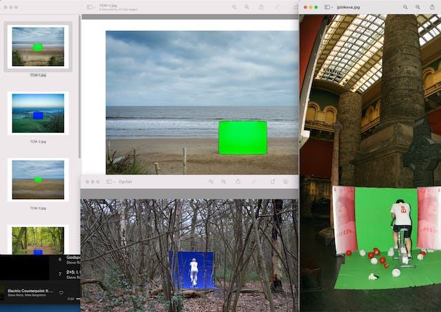 苹果Mac电脑桌面的图像。桌面上有几个应用程序窗口,它们相互重叠,并稍微模糊了一些。在这些窗口内是彩色照片显示一个绿色和蓝色的色度键屏幕设置在风景位置和照片的一个人面对相机坐在锻炼自行车放置在色度键背景。