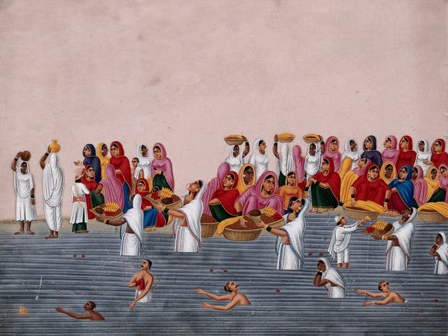 Gouache painting showing people bathing and praying at the River Ganges.