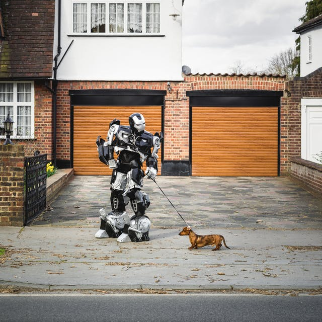 Photograph of a robot holding a small dog on a lead, standing on a typical suburban pavement in front of a house.