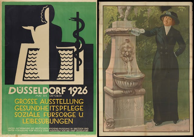 Two posters are shown. On the left, a cut-out style poster shows a woman holding up the palm of her hand on the left and holding the staff of Aesculapius on the right. There is water in the background. On the right a painting-style poster shows a grinning woman in Edwardian clothes pouring water into a fountain.
