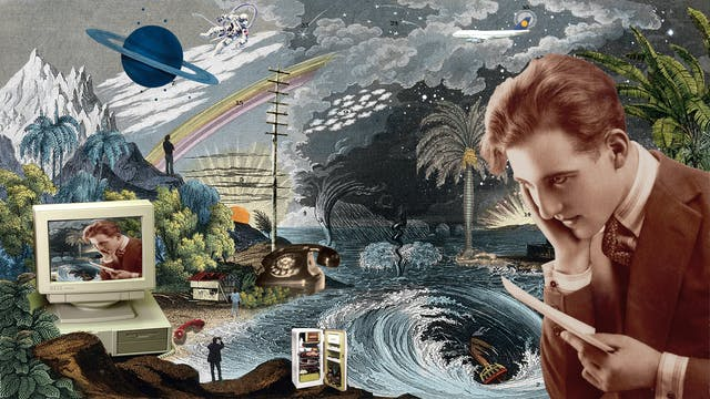 Artwork using collage. The collaged elements are made up of archive material which includes vintage and contemporary photographs, etchings, painted illustrations, lithographic prints and line drawings. This artwork depicts a scene from a costal landscape. To the right of the image a large figure of a man wearing a suit and tie rests his head on his right hand, while holding a letter in his left. He stares across the frame to the left. Behind him the background is an expanse of ocean which meets a sandy shoreline. At sea can be seen stormy weather with tornadoes, and dark clouds. On the shoreline trees rise up into snow capped mountains. The silhouette of a small figure stands of the mountain looking out to sea. Also peppering the shore are a rotary telephone, a telegraph pole and a small wooden house. In the water is a large whirlpool with a tall ship disappearing into the depths. Along the foreground are an open refrigerator containing food and an old computer screen. On the screen is a repetition of this collage. In the sky above the scene are an airliner in flight, a blue Saturn-like planet, an astronaut on a space walk, a rainbow and a sunset.
