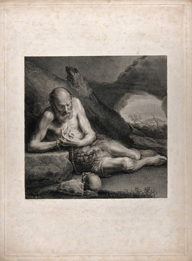 Image of sepia engraving of an old man kneeling and wearing a loin cloth