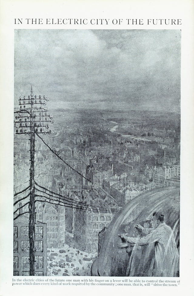 Image from book of black and white painting of a town with an electricity pylon and a man in a clear bubble controlling levers.