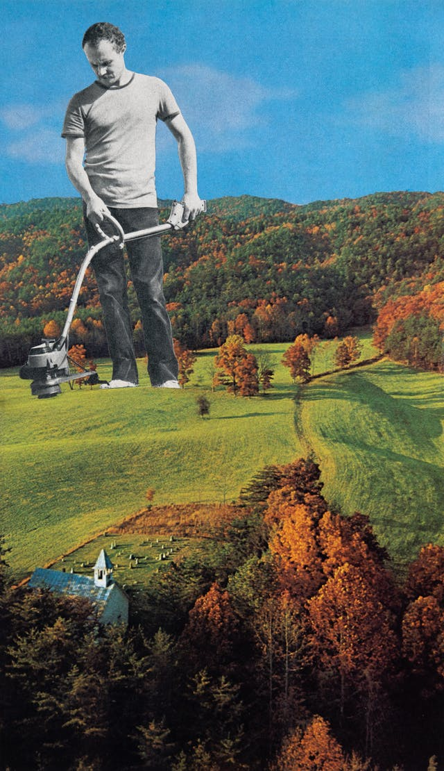 Paper collage artwork of a large black and white image of a man using a grass trimmer against a colour image of a forested landscape which has been partially cleared. A church and graveyard can be found in the bottom left corner of the image.