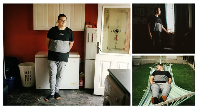 A cluster of 3 photographs, one large and two. The small top right photograph shows a teenage boy standing in a dark room looking out of the window. The small photograph bottom right shows the same boy lying in a hammock with his eyes closed. The large photograph on the right shows the same boy standing in a utility room leaning on a chest freezer.