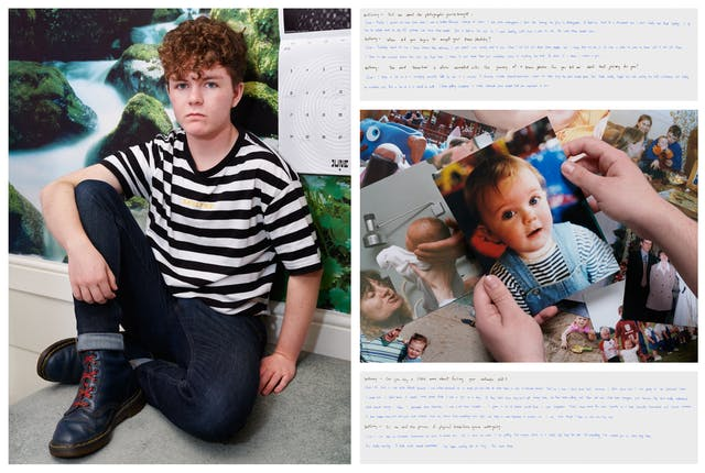 Photograph of an individual sat on the floor of a bedroom. They are looking straight to camera and behind them the wall is covered in waterfall wallpaper. To their left is a calendar hanging on the wall. To the right of this photograph is another photograph showing two hands holding a family photo of a young baby. Above and below this image are images of handwritten texts.