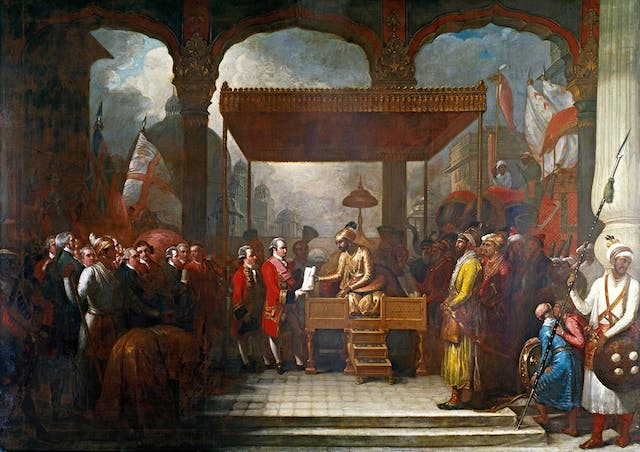 Shah Alam conveying the grant of the Diwani to Lord Clive
