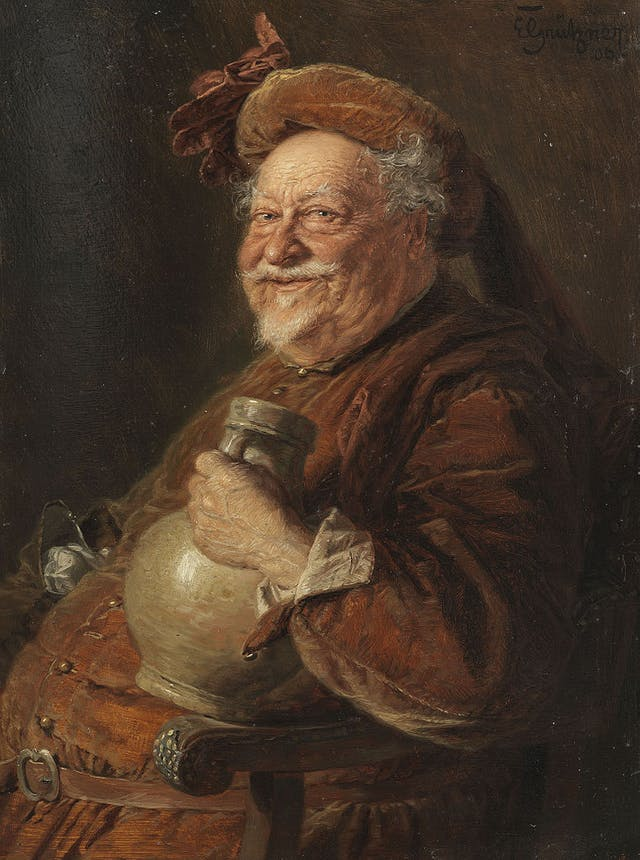 Painting of fat man with a grey beard and an orange hat holding a jug and sitting on a wooden chair