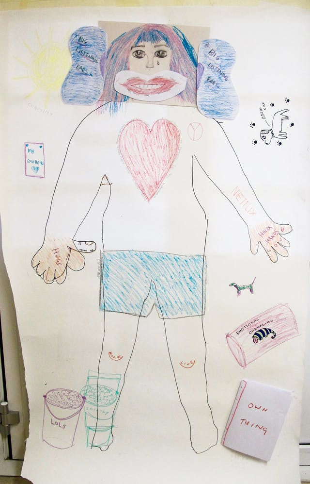A photograph showing the outline of a person drawn in black marker pen on poster paper completed with colouring pencils. The head is made up of different drawings on separate sheets of paper stuck together with pink and blue shoulder length hair, large green eyes, and a single tear on her cheek. There are large ears coloured blue, labelled 'big listening ears', and a smiling mouth around which 'welcoming', 'warm', 'funny', 'real smile', 'happy' and 'understanding' are written. On the body there is a large red heart surrounded with more words and phrases describing the perfect carer, and a CND 'peace' symbol. On the hand shown on the left is written 'hugs' as well as 'thumbs up.' On the other, is written 'holds hands', and 'love' spelt out on the knuckles. Netflix is written on the arm.  The figure wears blue shorts, and 'swimming' is written besides them.  'Work' is written on one knee, and 'life' on the other. At the feet are buckets with 'lols' written on one, and 'empathy' on the other. Around the edge of the paper there are various words and drawings including; a dog with paw prints and 'Rosie xxx' written by it; a drawing of a chameleon and the words 'emotional chameleon' by it; and a book with the words 'own thing' written on it.