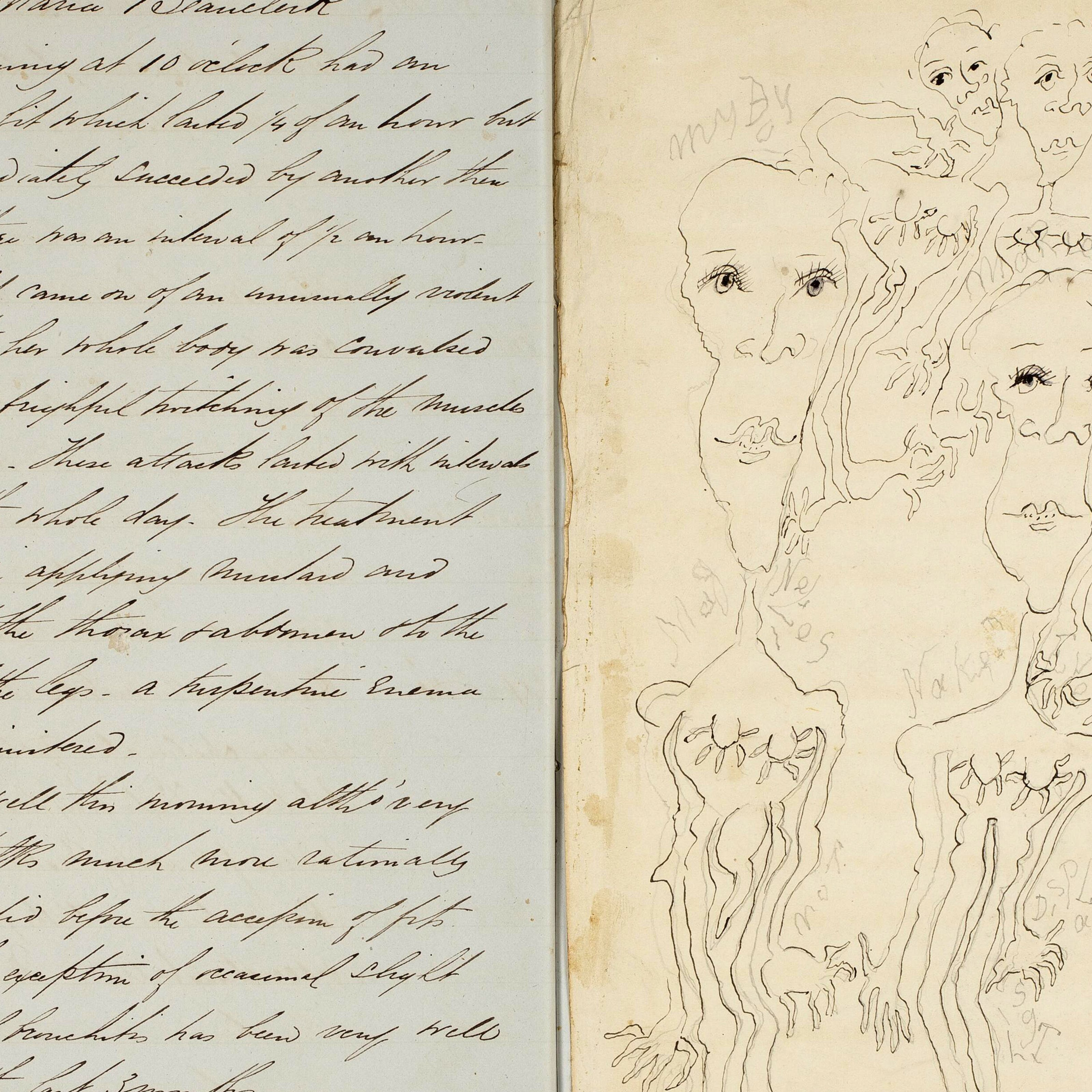 Patient records, with handwritten notes in black ink on the left, and a black and white drawing of several women on the right .