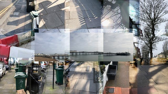Photographic collage of a series of landscapes overlapping on one another.  The individual images feature obstacles to the visually impaired such as shadows, wheelie bins, street furniture and lampposts. In the centre of the frame are three overlapping photographs that make up a pier that reaches out to sea.