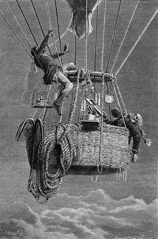 Black and white etching showing one man collapsed in a balloon basket and another climbing up and tugging at a rope with his mouth.