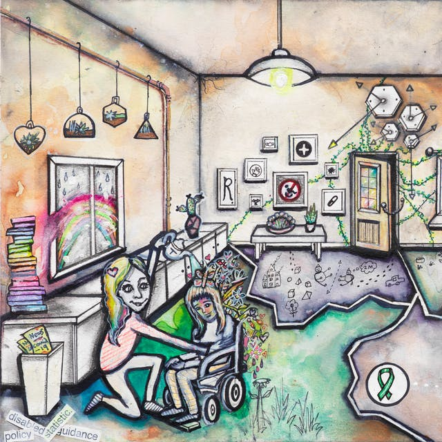 Artwork using watercolour and ink incorporating some collaged words. The artwork shows a busy multi-coloured living room scene separated by jagged white lines drawn across the floor like cracks. In the left hand corner of the room, a girl sits in a wheelchair while a smiling woman with rainbow hair pours liquid from a teapot over her head from which butterflies, flowers and hearts emerge. Behind them are a pile of rainbow coloured books, and a window through which a rainbow can be seen. Along the back wall are various pictures containing images such as: a no access sign with a wheelchair within it, a first aid symbol, a corona virus, and a capital 'R'. A security chain is holding a front door ajar from which plants creep into the room and across the walls. Outside a window, the corona virus can be seen. In the front right corner of the scene, a small man wearing a tie sits in lotus position in front of a laptop surrounded by cups of tea, crumpled paper, and a chair on its side. Above his head are symbols in circles such as a check mark, a pencil, and a smiley face joined by dotted lines. A green ribbon, the symbol for mental health awareness, appears in another circle in the centre of the room.