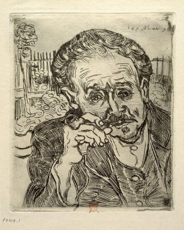 Etched portrait of Van Gogh