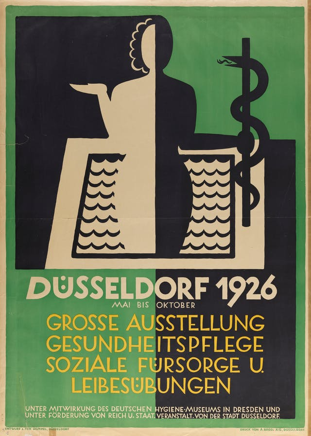 Poster for a health exhibition in Dusseldorf, 1926 featuring a woman holding a staff with a snake entwined around it.