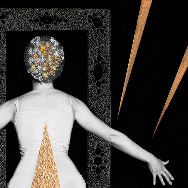 Artwork made up of a black and white photograph of a female figure from behind, from the waist up, against a black background. Her arms are held out straight to either side, her fingers are outstretched. Embroidered into the photographic print with yellow and orange coloured thread is a crisscross floral pattern which exactly covers her head and hair. Across her back, in a copper coloured textured paint is a large  triangle. In front of the figure is a large rectangular frame made up of a layered texture of grey dots which forms a doorway. Either side of the figure are long copper coloured shards made in metallic paint which seem to be reaching out to tether her arms.