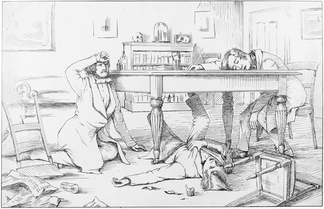 Black and white lithograph showing three men collapsed around a table after drinking liquid chloroform.