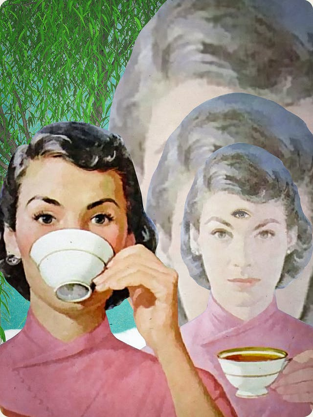 Detail from a larger mixed media digital artwork combining found imagery from vintage magazines and books with painted and textured elements. The overall hues are greens, yellows and pinks. At the centre of the artwork is a woman with short black hair wearing a red/pink Kimono. She is pictured from the shoulders up. In her left raised hand is a white china teacup which is raised to her lips. To the right again, the a duplicate of the woman is reduced in tone and scale and looking towards the viewer with a neutral expression, teacup I hand. In the centre of her forehead is an extra eye. Behind this figure, two further duplications disappear into the distance behind her, increasing in scale.