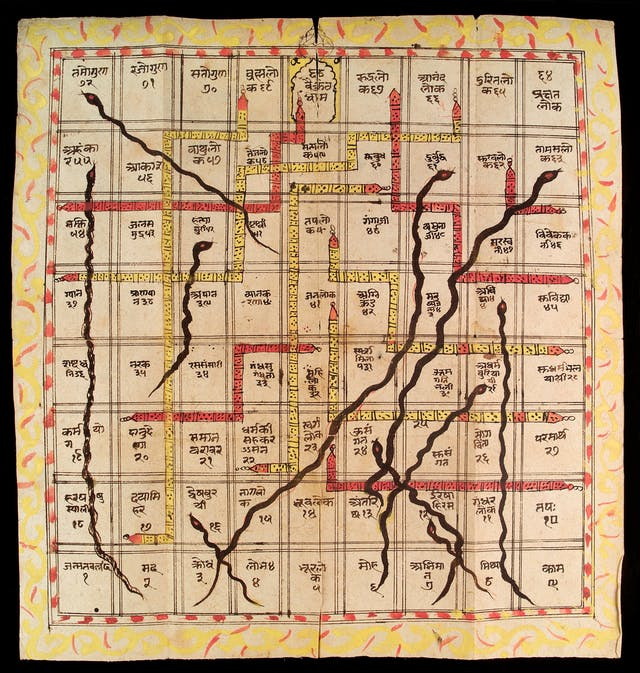 Manuscript page showing a grid 9 by 8 squares large with snakes, ladders, and Sanskrit text.