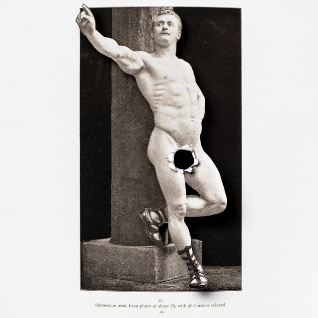 Photograph of a photograph of a naked man where the body of the man has been cut out and lifted above the background. Where the man