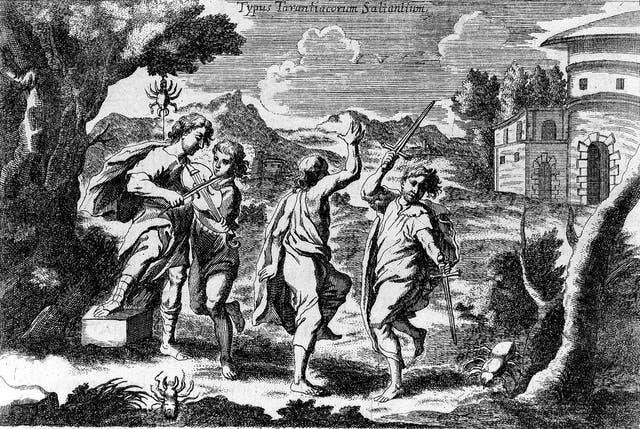Black and white etching of four men in a wooded area dancing, one of them is waving a sword in each hand and another is playing a violin