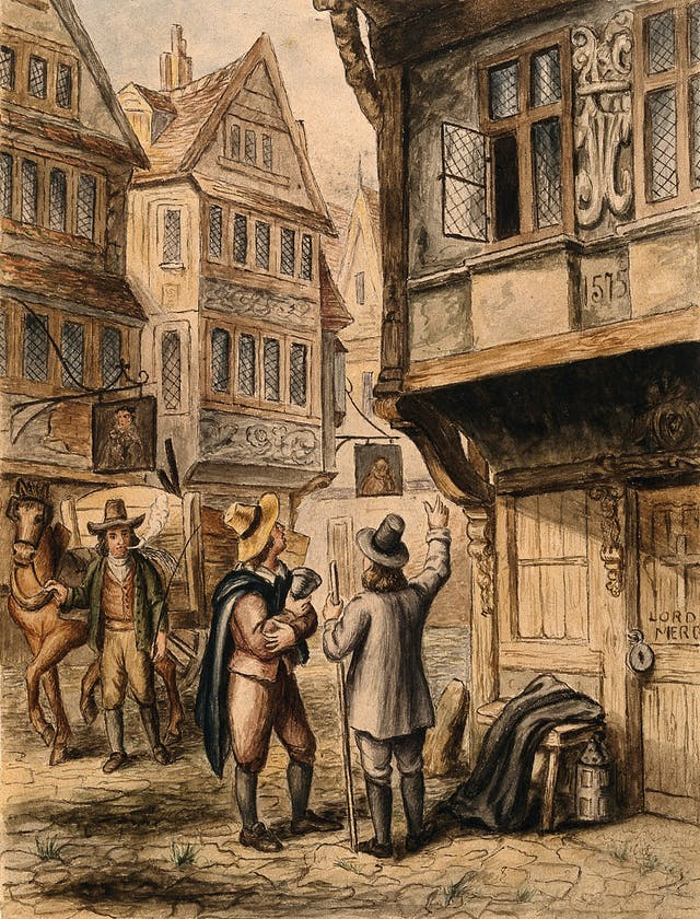 Watercolour painting showing two men gesturing up at an open window of a house that is padlocked from the outside and has a cross on the door. In the background a man exhaling a plume of smoke leads a horse and cart towards the building.