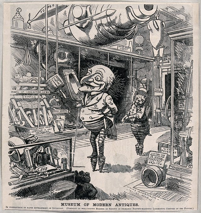 Drawing of Mr Punch and a cat in an antiques shop