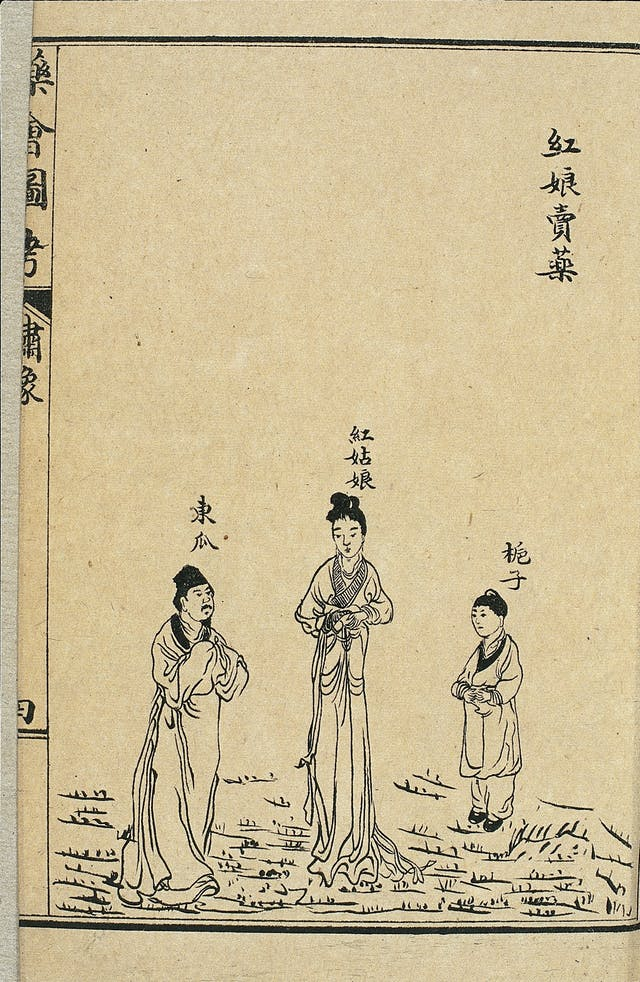 Three figures represent different drugs. They have Chinese characters above their heads representing dialogue where they explain the benefits of different remedies.