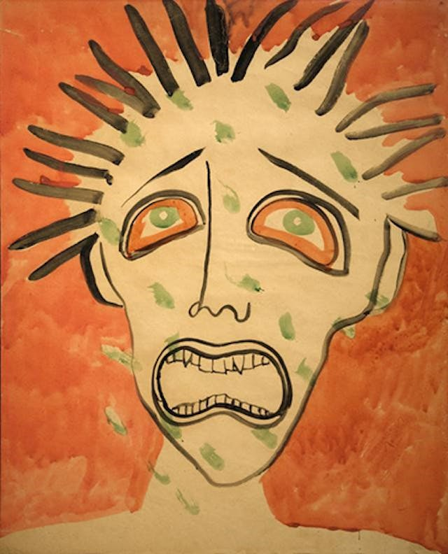 Painting of a howling face with short, spiky black hair.